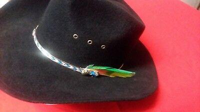 Orange Cowboy Hat (Western Express Black Felt Cowboy Hat with Orange, Yellow and Green)
