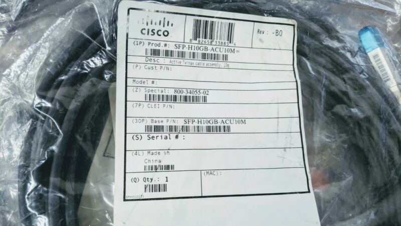 NEW SEALED CISCO SFP-H10GB-ACU10M= Twinax Cable 10 M 100% Cisco Authentic