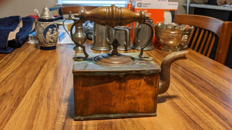 Antique Victorian Copper Square Ship Tea Kettle 1837-1876
