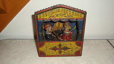 Punch and Judy Cast Iron Mechanical Bank Antique Vintage 1800s