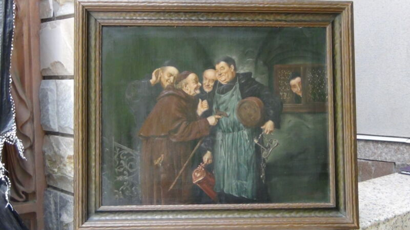 "After Eduard Von Grutzner Oil On Canvas ""gossip In The Monastery""signed"