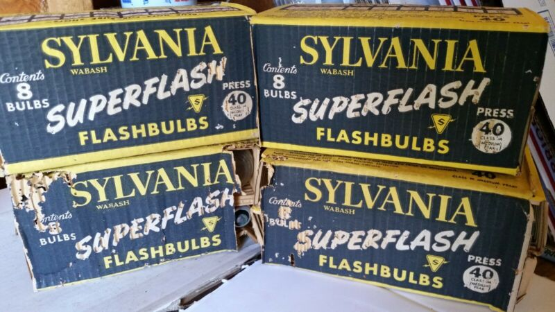 Sylvania superflash flashbulbs press 40 lot of 32 vintage old stock photography
