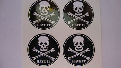 "HAVE IT 12 SKULL and CROSS BONES STICKERS 1"" CROWN GREEN BOWLS LAWN FLAT GREEN"