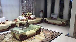 Cream/brown full leather lounge set Beaumont Hills The Hills District Preview