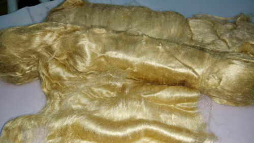 1kg Pure Raw Golden Muga Silk laps & 1kg Recycled Sari Silk Sliver Tops Multicol