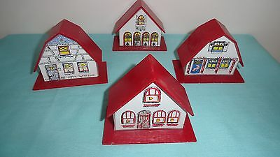 Red vntg plastic houses Christmas light covers or set on shelf or train display