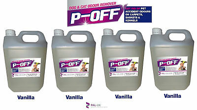 4 X 5L P-OFF PET URINE SMELL ODOUR REMOVER - WEE FAECES POO CAT DOG - VANILLA.