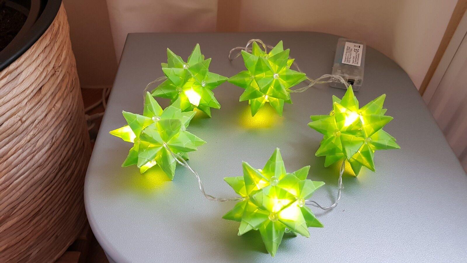 Neu, Deko,5 er Sternenlichterkette in hellgrün mit LED-Licht,für den Sommer!!!!