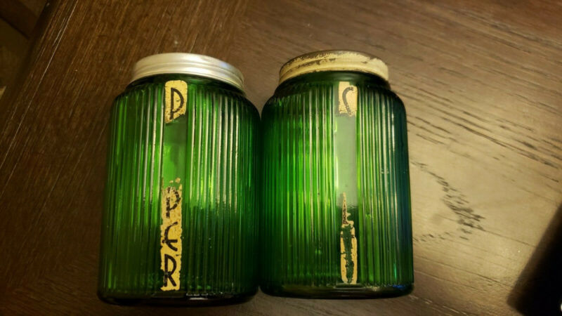 VTG Owens-Illinois Green Glass Salt & Pepper Shaker