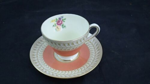 ROYAL CHELSEA BONE CHINA CUP & SAUCER Peach with PINK ROSES