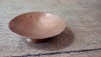 Arts And Crafts Hammered Copper Circular Trinket / Pin Dish With Circular Base