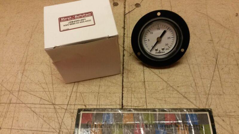 NOS Marsh-Bellofram Pressure Gauge Gage J2942M-001 1ABB03320AGA 2-1DFFM1-4CBM30