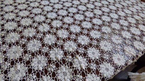 """Vintage Handmade Crochet Ecru color Lace Tablecloth 63"""" x 70"""" Flower net"""