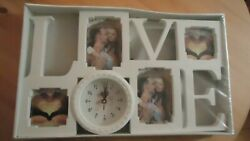 White Hanging Modern Multi Photo Love Picture Frame Time Wall Clock New