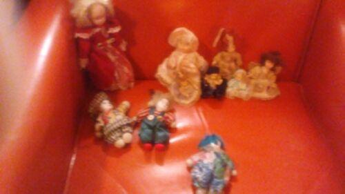 "Lot of (9) Porcelain Vintage Small Dolls 6 dolls + 3 Clowns  Sizes 9"" - 1- 3/4"""