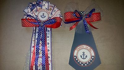 Baby shower  corsage& Tie  Mommy &  Daddy Nautical Ocean Sailor  Theme  - Baby Shower Nautical Theme