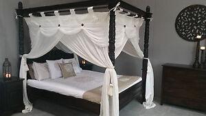 Four Poster Bed Queen Canopy Deluxe Mosquito Net Cream 155cmx205cm