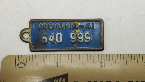Vintage 1941 Indiana BF Goodrich Tires Advertising License Plate Tag Key Fob