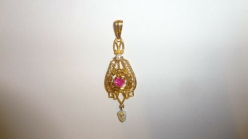 Vintage Ostby & Barton 10K Yellow Gold Ruby Freshwater Pearl Pendant