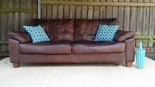 Leather Lounge Couch Sofa & Armchair Rustic Distressed Brown Coogee Eastern Suburbs Preview