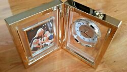BULOVA PICTURESQUE VINTAGE TABLE TOP CLOCK PICTURE FRAME NOS NEW IN BOX WORKING