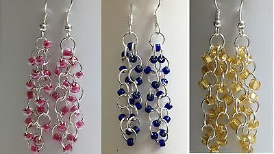pink,blue,gold and more czech Glass seed bead dangle earrings sterling silver.
