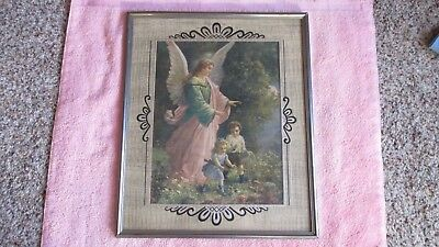 Guardian Angel Picture Frame - Vintage Guardian Angel Picture in Metal Frame