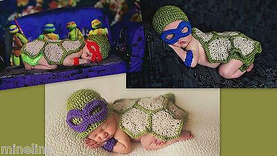 Ninja Turtle Kostüm Blau ( ★★★ NEU Fotoshooting Kostüm  Ninja Turtles rot blau lila 0-6 Monate ★★★Nr.S)