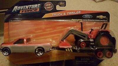 Force Truck - Maisto Adventure Force Ford F250 F350 Truck & Trailer transport w/ Case? Tractor