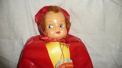 """#817 vtg CELLULOID face Doll w Vinyl OUTFIT & BODY by TRIXY CREATION 13"""""""