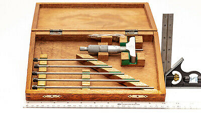 Mitutoyo 229-132 Digit Depth Micrometer Set 0-6 4 Base Wood Box