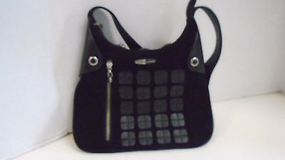 Jamie Sadock Black Purse Handbag Suede Satchel Leather Silver Hardware