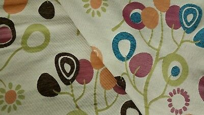 3 YD CLARIDGE TEXTILE KINDER GARDEN BRIGHT CONTEMPORARY FLORAL UPHOLSTERY FABRIC