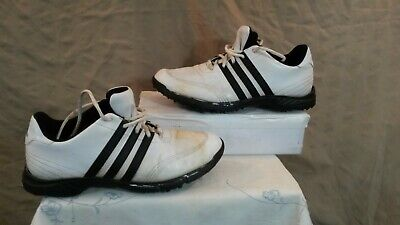 Adidas Traxion Men's White Golf Shoes. Size 8.5. Used. Six Cleat Soles.