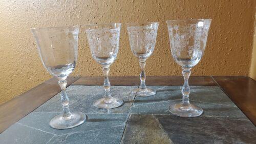 "Fostoria NAVARRE Wine Glasses Goblets 6 1/2"" Set of 4 Signed"
