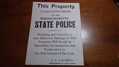 VINTAGE MASSACHUSETTS STATE POLICE POSTER 1960'S COMMISSIONER L.L LAUGHLIN