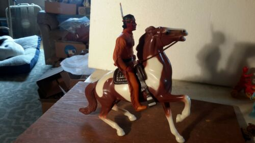 Vintage HTF Hartland TONTO w/Scout,Brown Pinto Semi-Rearing/ Saddle Model