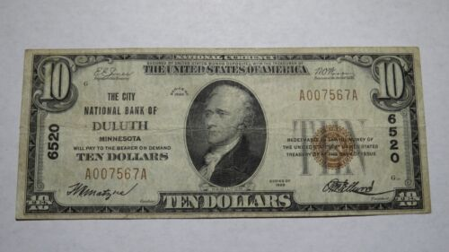 $10 1929 Duluth Minnesota MN National Currency Bank Note Bill! Ch. #6520 VF!