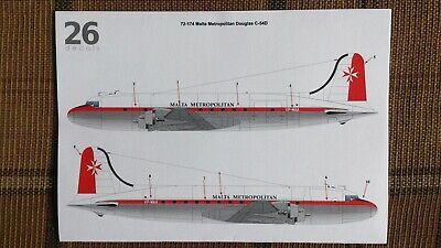 C-54 DC-4 1/72 Decal Malta Metropolitan TwoSix decals 72-174 for Revell kit