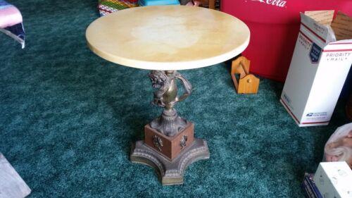 Vintage Marble Brass Round Table Cherub PEDESTAL PLANT STAND
