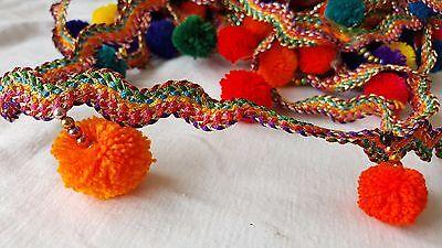 4.5cm- 1 meter Beautiful multi-coloured ribbon & pompom fringe lace trimming
