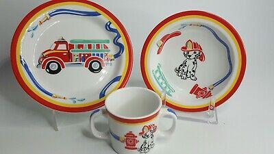 Tiffany Fire Station Kids 3-Piece Tableware Plate Bowl Mug Set