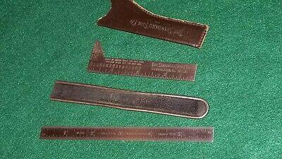 Vintage Starrett Flexible Rule Standard Tool Drill Point Gage Leather Sheaths