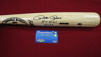- Pete Rose Signed Louisville Slugger Blonde Bat W/2 Inscrips - Mounted Memories