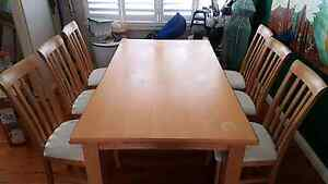 Solid wood dining table with 6 chairs 180x100x75cm Chatswood West Willoughby Area Preview