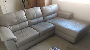 Genuine Leather 2 seater lounge with chaise Kellyville Ridge Blacktown Area Preview