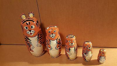 2 Wooden Nesting Cats Animal Sets (2 sets of 5 pieces)