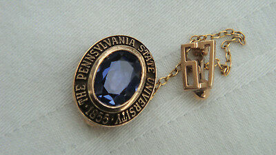 VINTAGE PENN STATE UNIVERSITY 10K SOLID YELLOW GOLD GEM STONE PIN-CLASS OF (Penn Square 10)