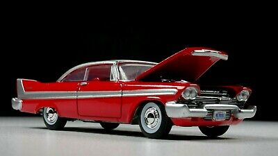 1958 Plymouth Belverde 1/64 Scale Diorama Car Opening Hood Whitewall Red Color