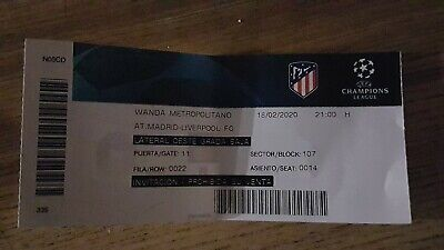 COLLECTORS USED TICKET ATLETICO MADRID - LIVERPOOL FC  CL 2020